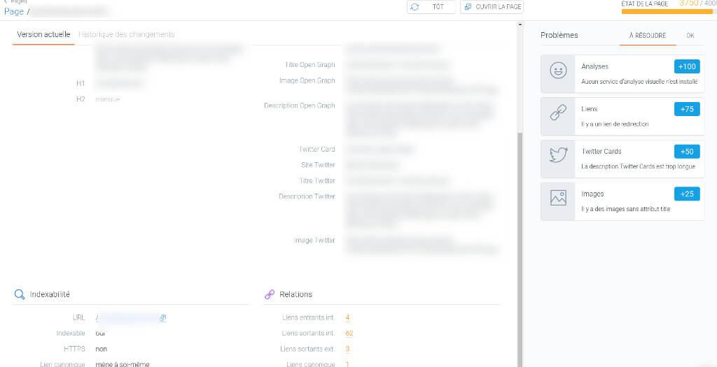 ContentKing : détail d'une page